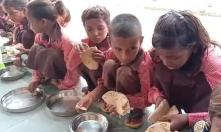 India roti with salt served to kids